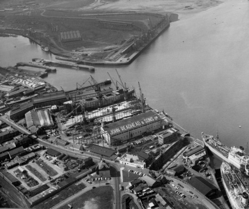 Aerial photograph of the shipyard of John Readhead & Sons Ltd, South Shields, May 1963