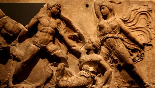Greek fighting Amazons from the frieze of the temple of Apollo at Bassai.