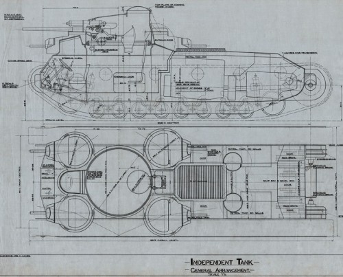 General arrangement plan of the Independent Tank, c1926 (TWAM ref. DS.VA/6/PL/15/85875)