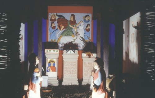 Reconstruction of the Mithraeum at Carrawburgh on Hadrian's Wall.