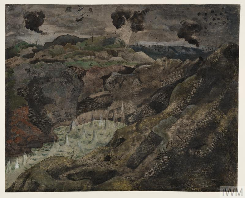The Landscape, Hill 60 (Art.IWM ART 1155) Image: a battle scarred landscape with a small lake surrounded by hills. The water has been disturbed by multiple hits and smoke rises from explosions. A few biplanes are engaged in a dogfight in the sky above. Copyright: © IWM. Original Source: http://www.iwm.org.uk/collections/item/object/20080