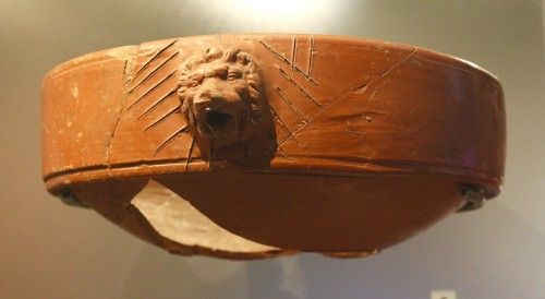 Samian ware moratorium decorated with a lion motif. Most likely used in ritual libations by members of the Lion class.