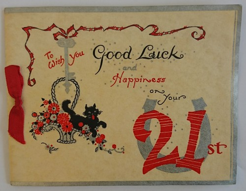 21st birthday card to Gladys Harrison from 'Mr & Mrs Penney & Molly@