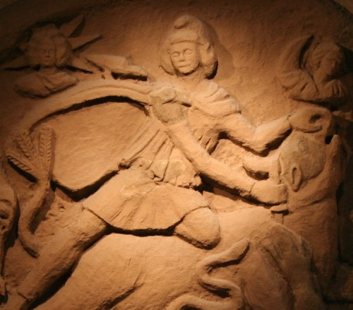 Reconstructed Mithras Tauroctony scene.