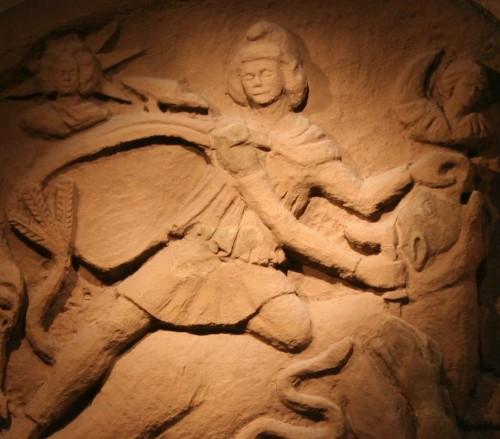 Reconstructed Mithras Tauroctony scene.