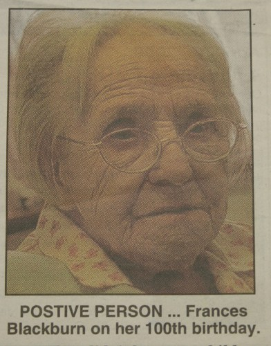 Frances Blackburn on her 100th birthday. Taken from the newspaper clipping sent in with the badge.