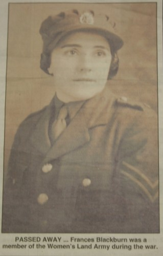 Frances Blackburn, Women's Land Army. Taken from the newspaper clipping sent in with the badge.