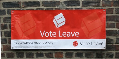 Vote Leave Banner found hanging on King Street, in South Shields collection