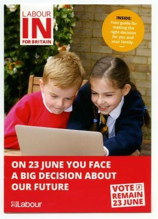 Leaflet issued by Labour endorsing the vote to stay in the EU