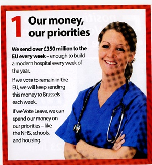 'Vote Leave' campaign leaflet claiming that leaving the EU will allow more money to be spent on the NHS