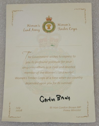The certificate to Frances, signed by Gordon Brown