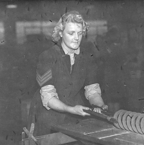 """Sergeant Sally"", Quin's bedding factory, January 1945"