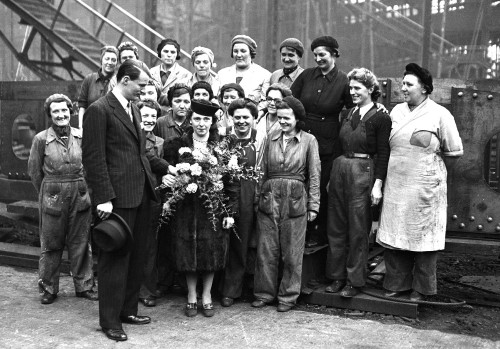 Women shipyard workers pictured at a wartime launch