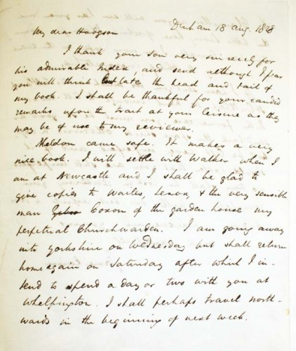 Letter from James Raine