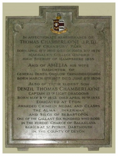 Family memorial tablet in St Matthew's Church, Otterbourne