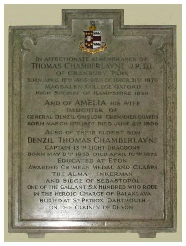 Family memorial tablet in St Matthew's Church, Otterbourne