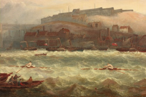 This race took place in September 1864 in very rough conditions. At the first attempt, on September 5th, Chambers' boat was holed and the race was stopped when his scull began to sink. The race was rowed again the next day and this time Bob Chambers won. TWCMS : G1197 (Shipley Art Gallery)