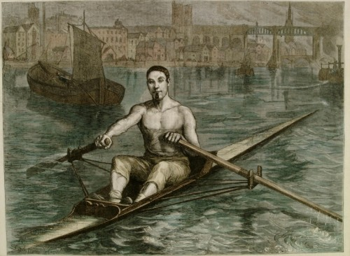 James Renforth shown on the River Tyne in his skiff. This print was probably produced after his death in 1871. David Clasper