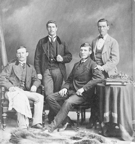 Photograph of the Winship Four 1871 taken in the USA or Canada when this crew competed in a number of regattas during the summer. From the left, Thomas Winship (stroke), Robert Bagnall (3), Joseph Sadler (2) and James Taylor (bow). Gateshead Libraries