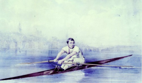 Harry Clasper, probably shown in the boat he built to race against Coombes in December 1844