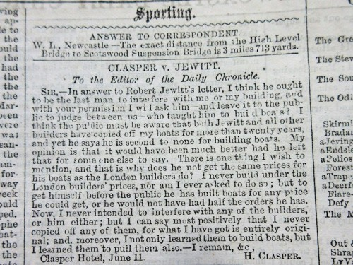 Clasper v Jewitt – Harry Clasper's first letter to the Newcastle Daily Chronicle (12/06/1866) in response to Robert Jewitt