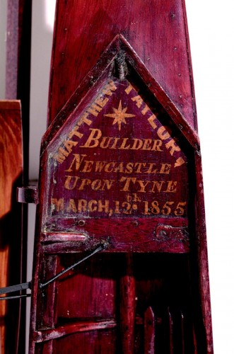 Inscription on the model of the Matthew Taylor four, dating it to March 12th 1855 together with his name and Newcastle location. TWCMS : 1999.215