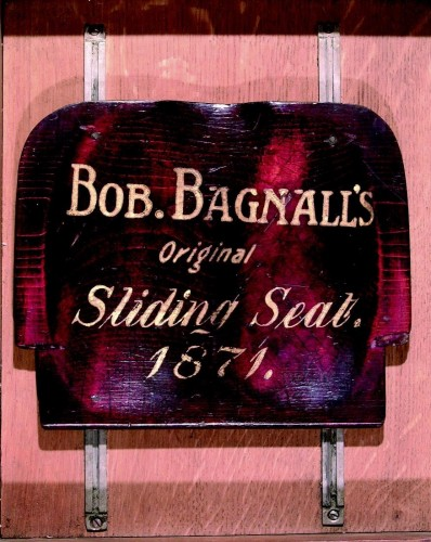 This is the seat that Bagnall used when part of the Winship crew that took the four oared Championship of the Tyne on 22 November 1871. Bagnall was 22 years old, weighed 10 stone 7 lbs and was 5 feet 8 inches tall. TWCMS : E7199. Discovery Museum