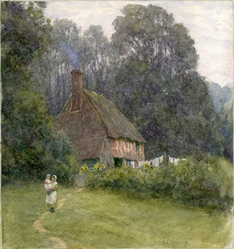 'Cottage with Figures' by Helen Allingham, Laing Art Gallery