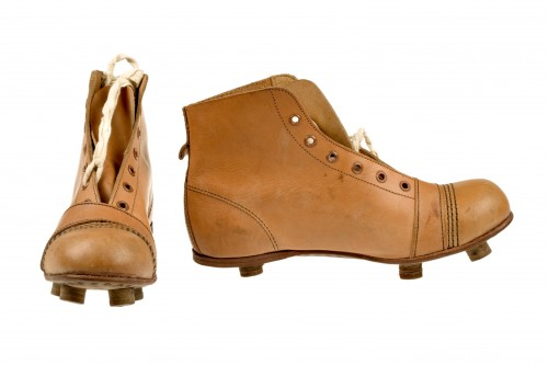 Leather football boots from the 1930s. TWCMS : 2006.689.2