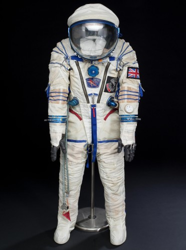 Zvezda space suit made by SOKOL used by Helen Sharman during the space flight on board the SOYUZ-TM-12 and MIR spacecraft in May 1991. Space suit model number KV-2 No. 167.
