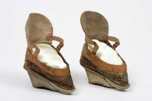 Lotus shoes, 1800s. Silk and leather, China. TWCMS : K13989.1