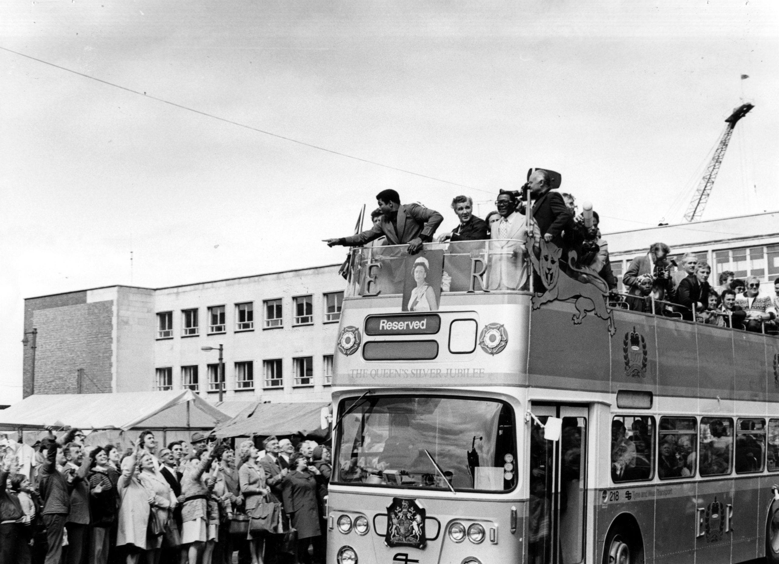 Muhammad Ali on an open top bus at South Shields Market Place, 1977