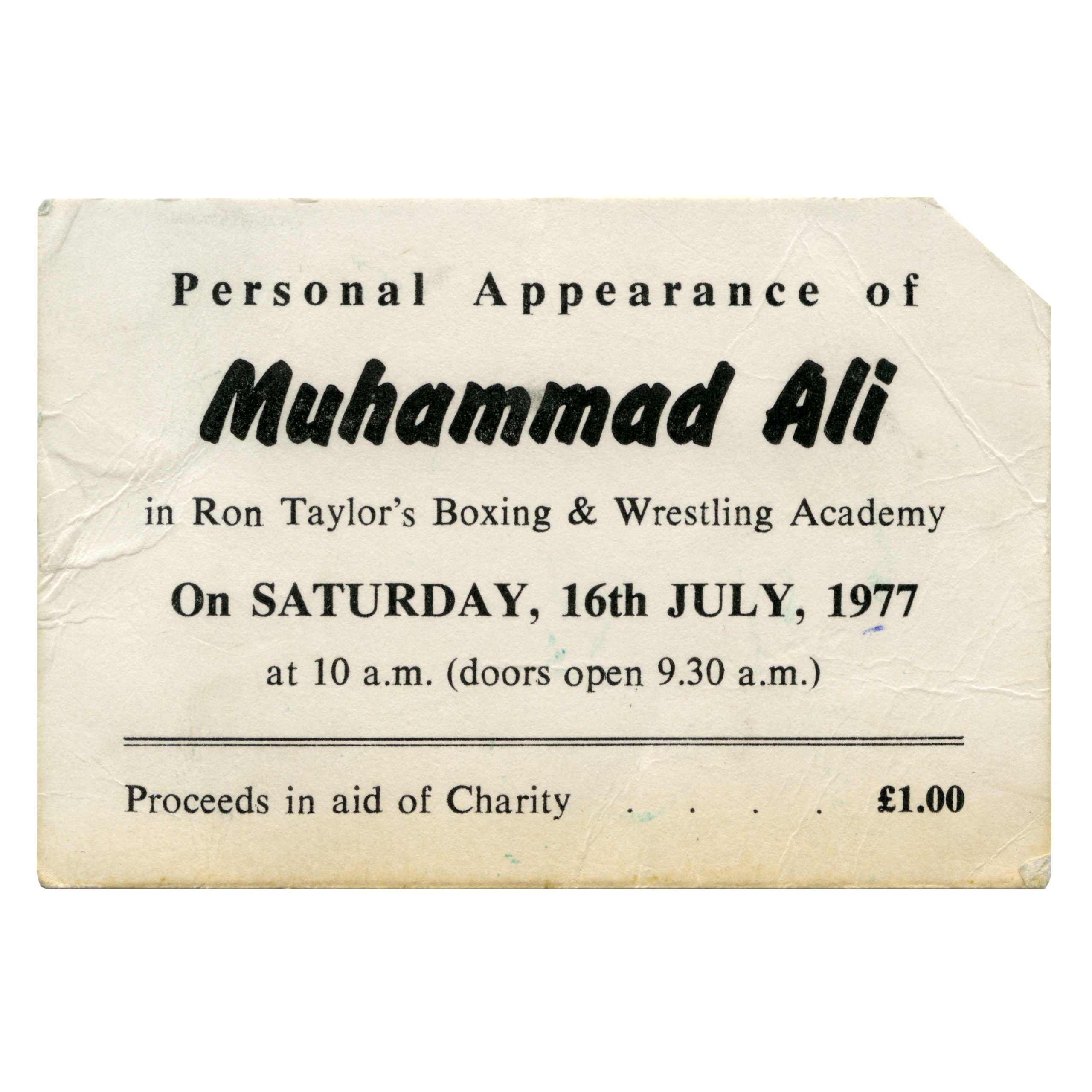 A ticket to see Muhammad Ali in Ron Taylor's boxing booth at South Shields, 16 July 1977